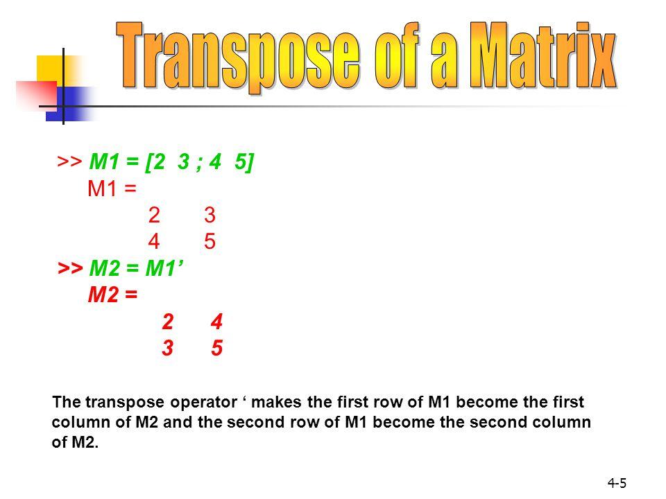Transpose of a Matrix >> M1 = [2 3 ; 4 5] M1 = 2 3 4 5